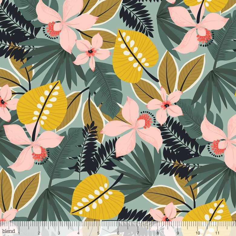 Leilani- Hibiscus- Blue- Maude Asbury- Blend Fabrics