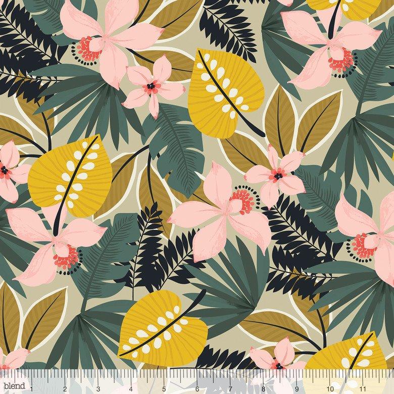 Leilani- Hibiscus- Tan- Maude Asbury- Blend Fabrics