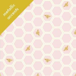 1/2 YARD- Mod Nouveau- Honey Comb- Blush CANVAS- Jay-Cyn- Birch Fabrics- Organic Cotton