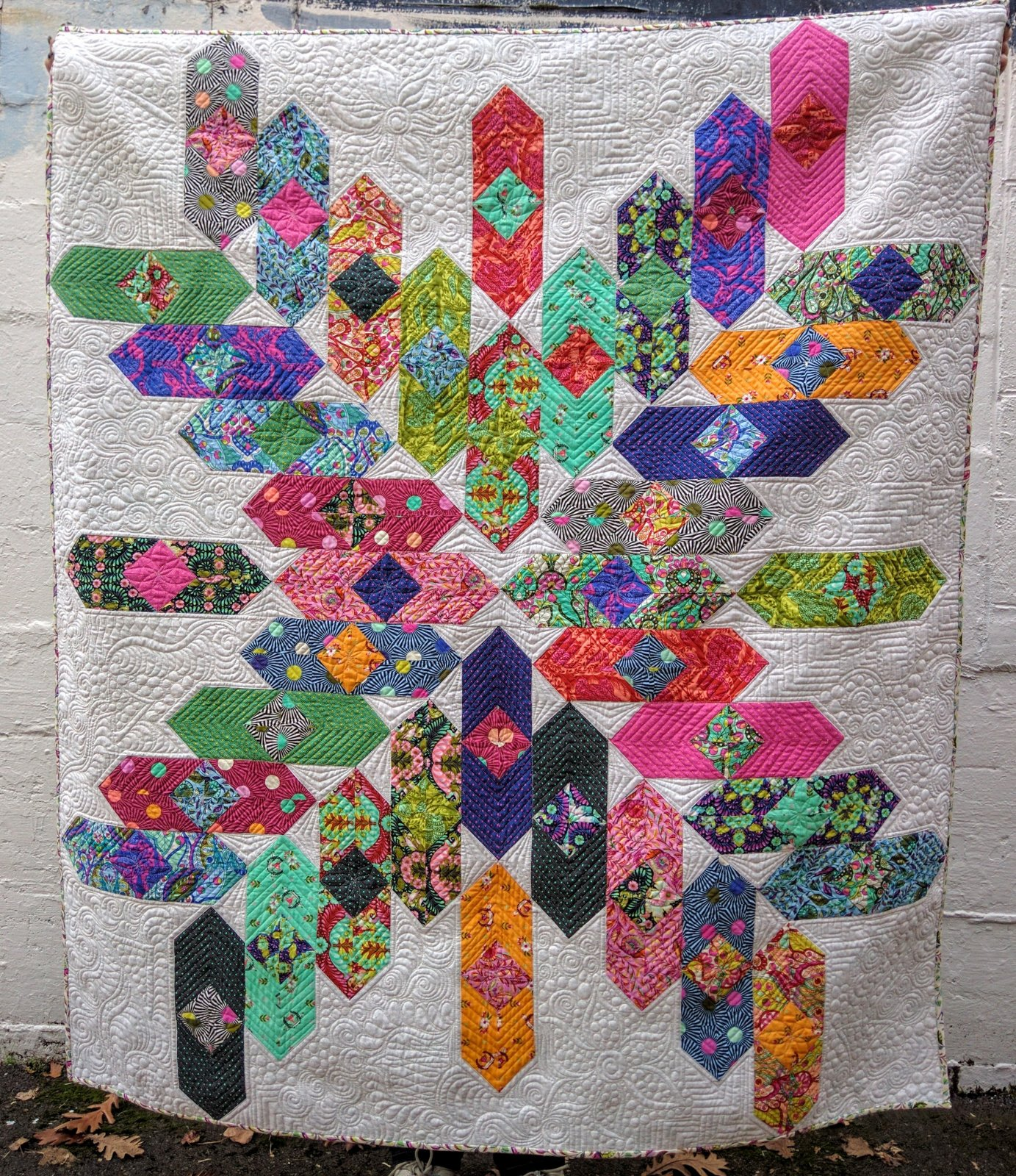 Slow and Steady Quilt - Me and My Sister Designs- Wild Jelly Rolls 3 - Finished quilt 54 1/2 x 62 1/2 - Includes Binding
