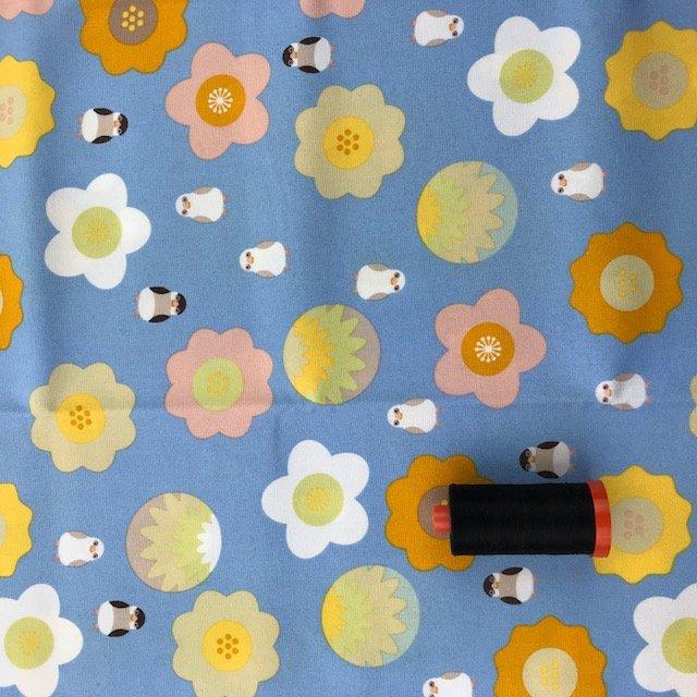 1 YARD- Large Flowers and Small Birds- Kotoritachi- Japanese Import