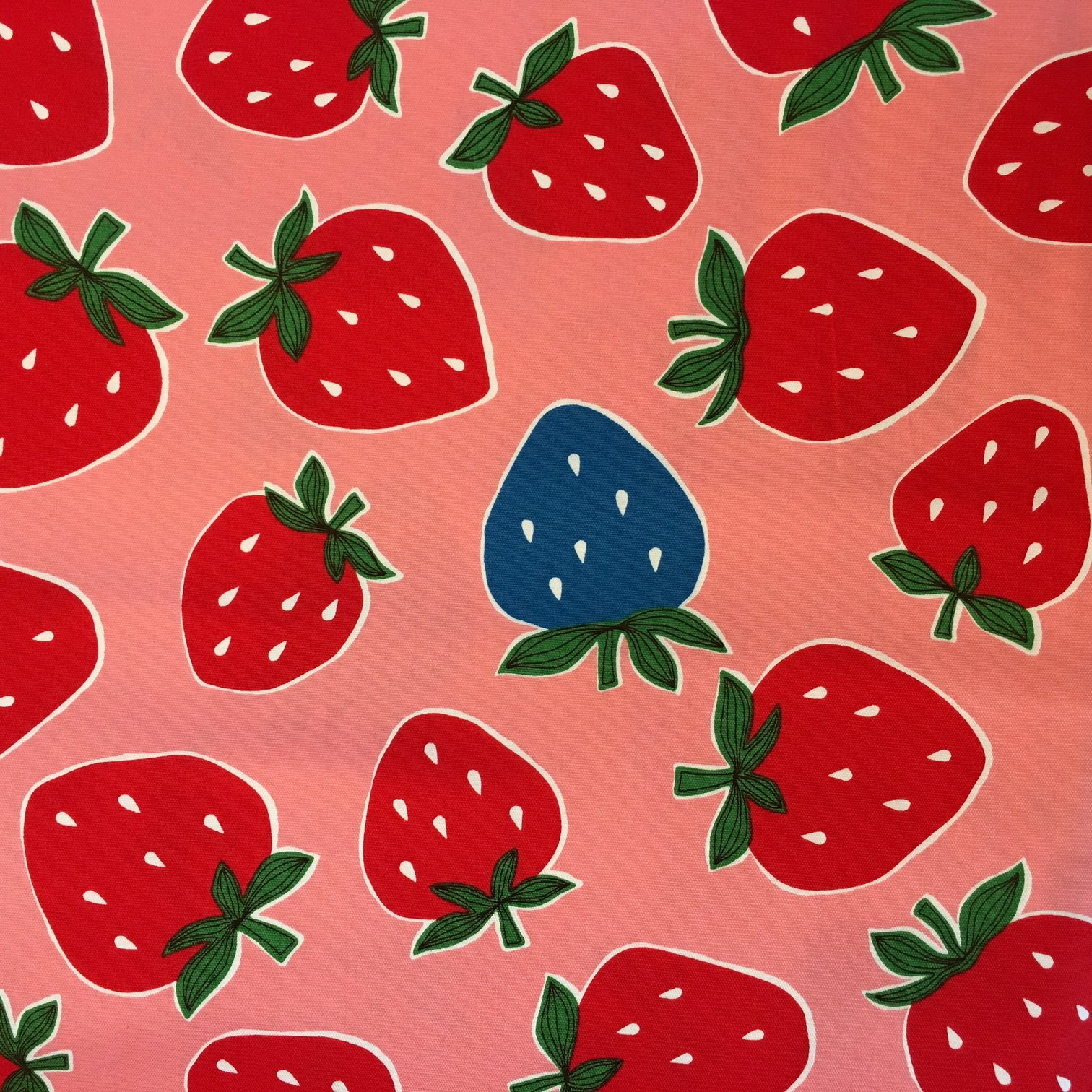 1 YARD- Strawberries- Pink Cosmo- Japanese Import