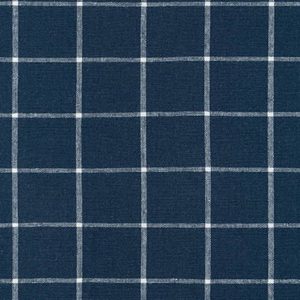 Essex Yarn Dyed Classic Wovens- Windowpane- Indigo- Robert Kaufman