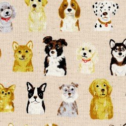 1 YARD- Dogs, Dogs, Dogs- Natural- Kokka- Cotton Linen Blend