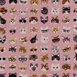 Cats with Glasses- Pink- Kokka- Cotton Linen Blend