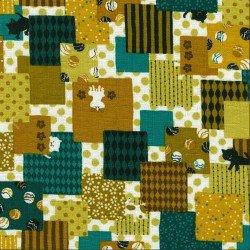 Patchwork Cats- Teal- Kokka