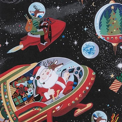 Santa In Space- Black- Alexander Henry