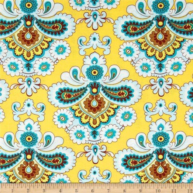Belle - French Wallpaper - Mustard - Amy Butler