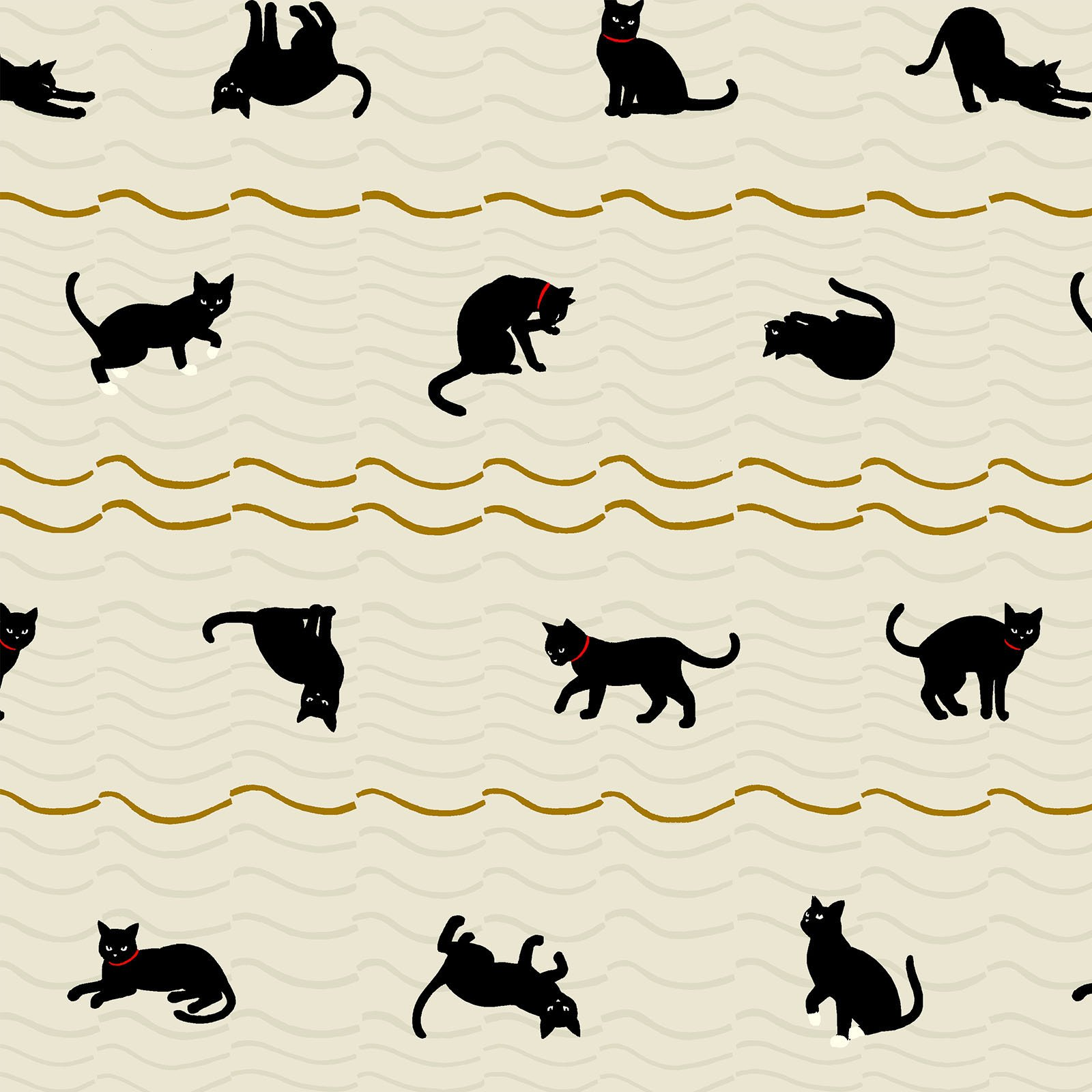Neko 4 Metallic- Cats- Ivory- Quilt Gate