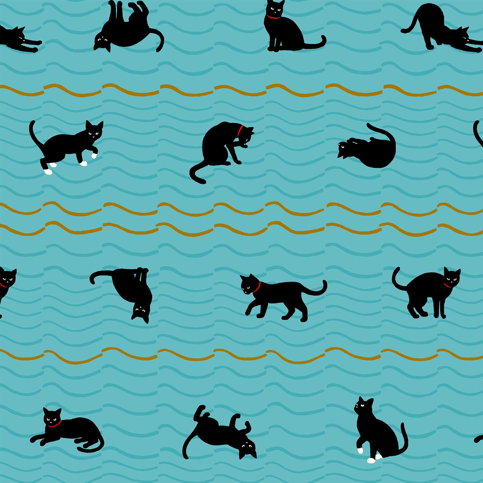 Neko 4 Metallic- Cats- Turquoise- Quilt Gate