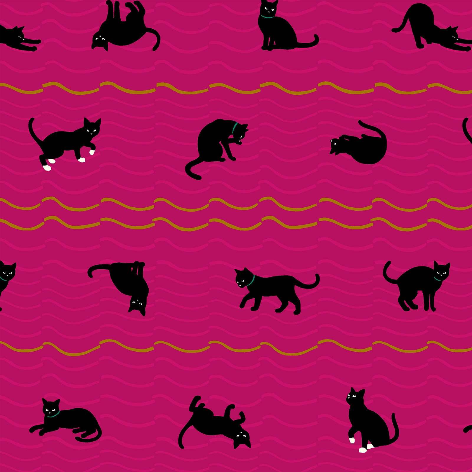 Neko 4 Metallic- Cats- Fuchsia- Quilt Gate