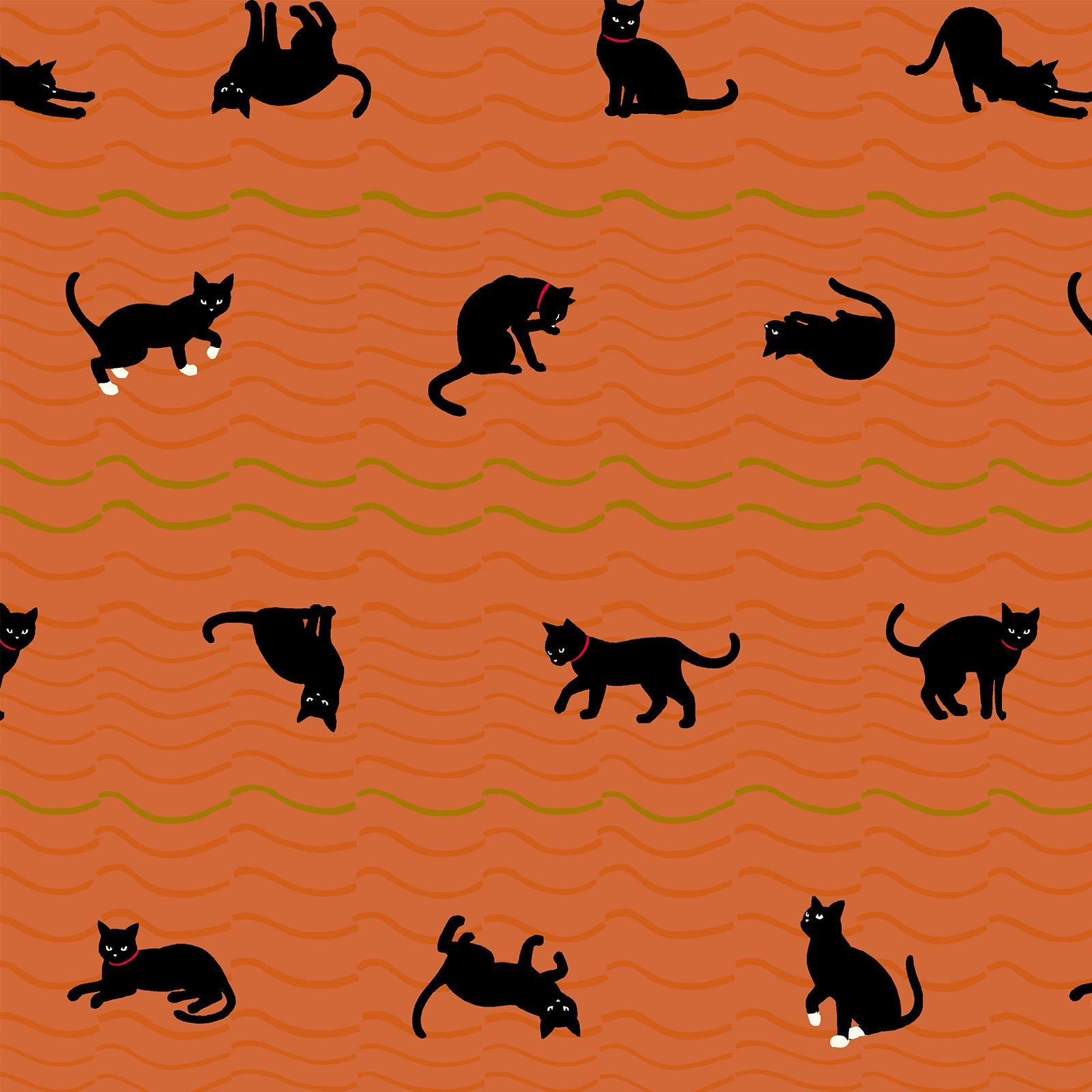Neko 4 Metallic- Cats- Orange- Quilt Gate