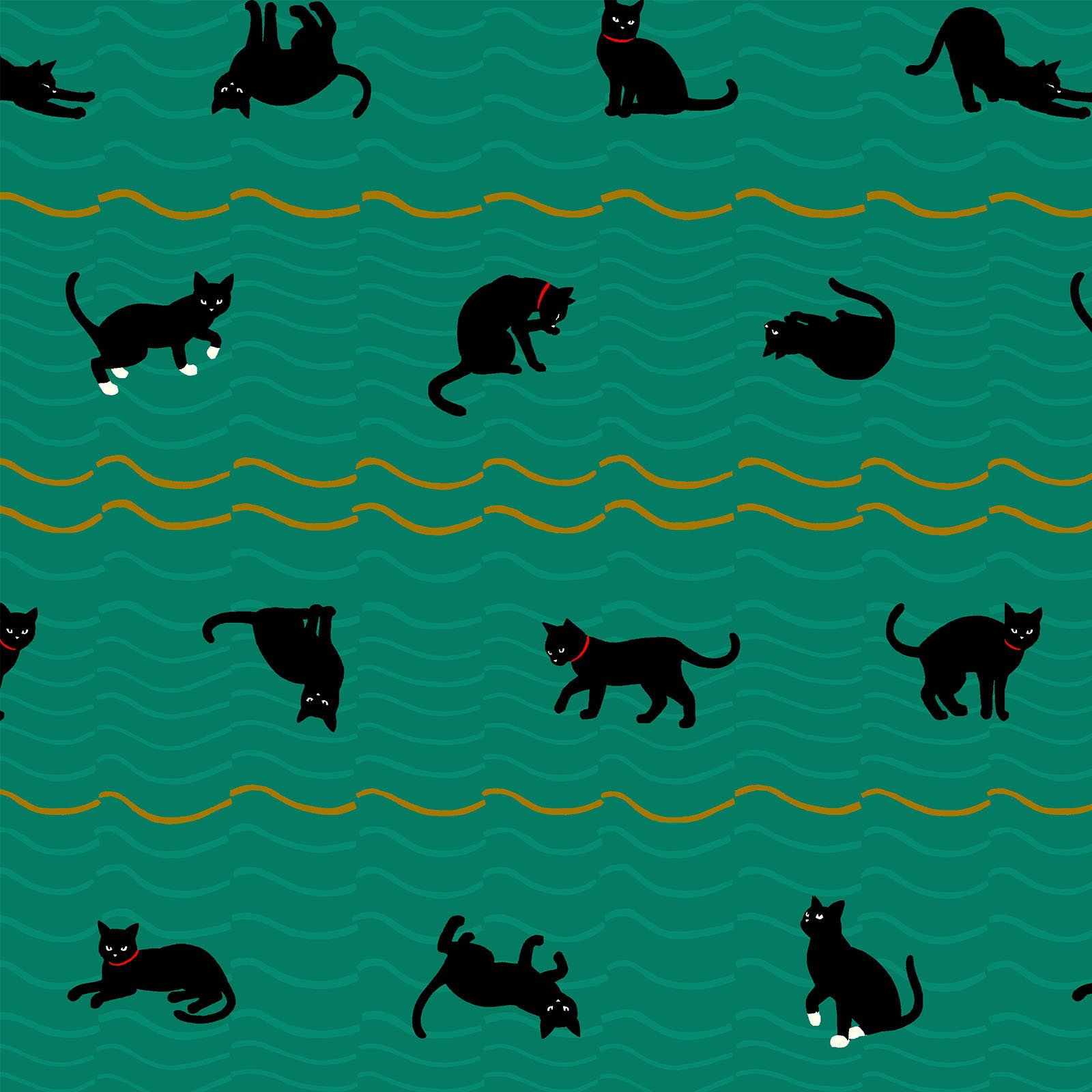 Neko 4 Metallic- Cats- Green- Quilt Gate