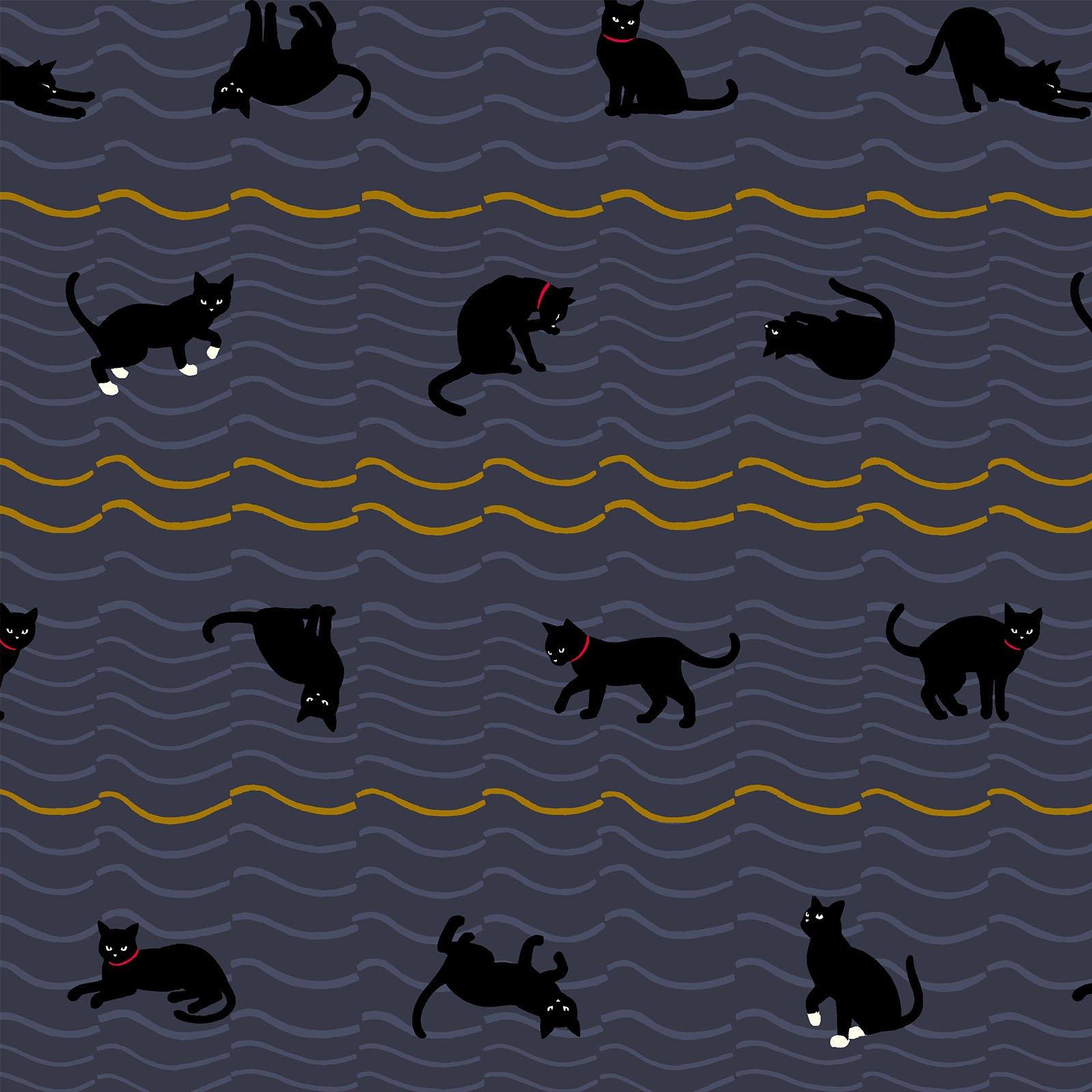 Neko 4 Metallic- Cats- Purple- Quilt Gate