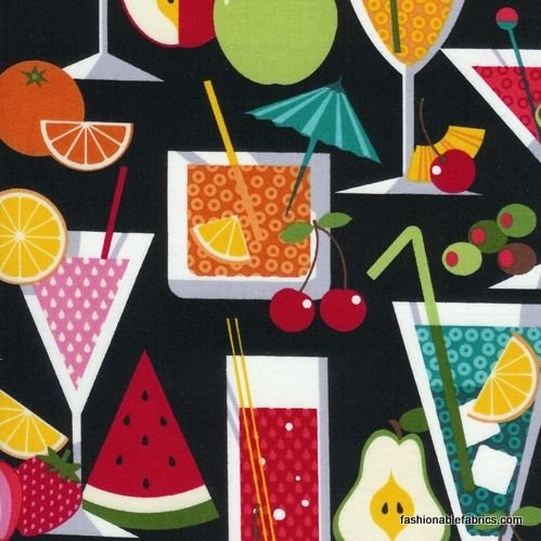 1 YARD- Fruit a la Carte - Black - Timeless Treasures