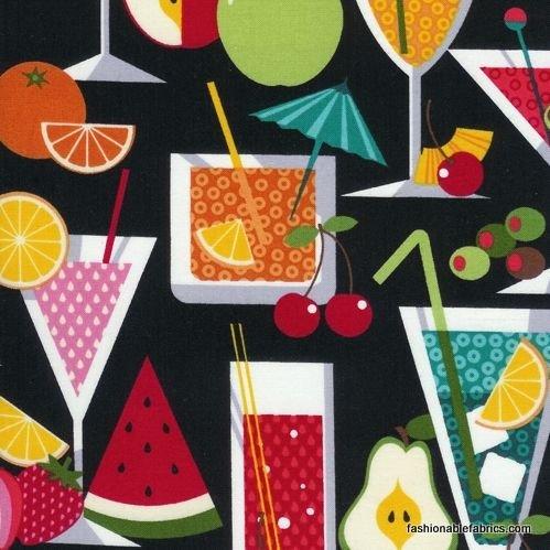 1 YARD- Fruit a la Carte - Black - Timeless Treasures