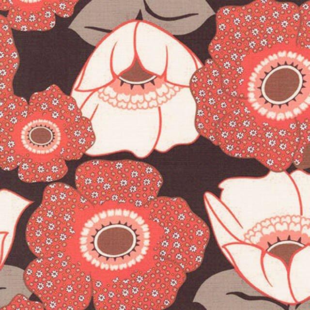 Auntie's Attic Canvas- Robert Kaufman- Large Floral- Coral