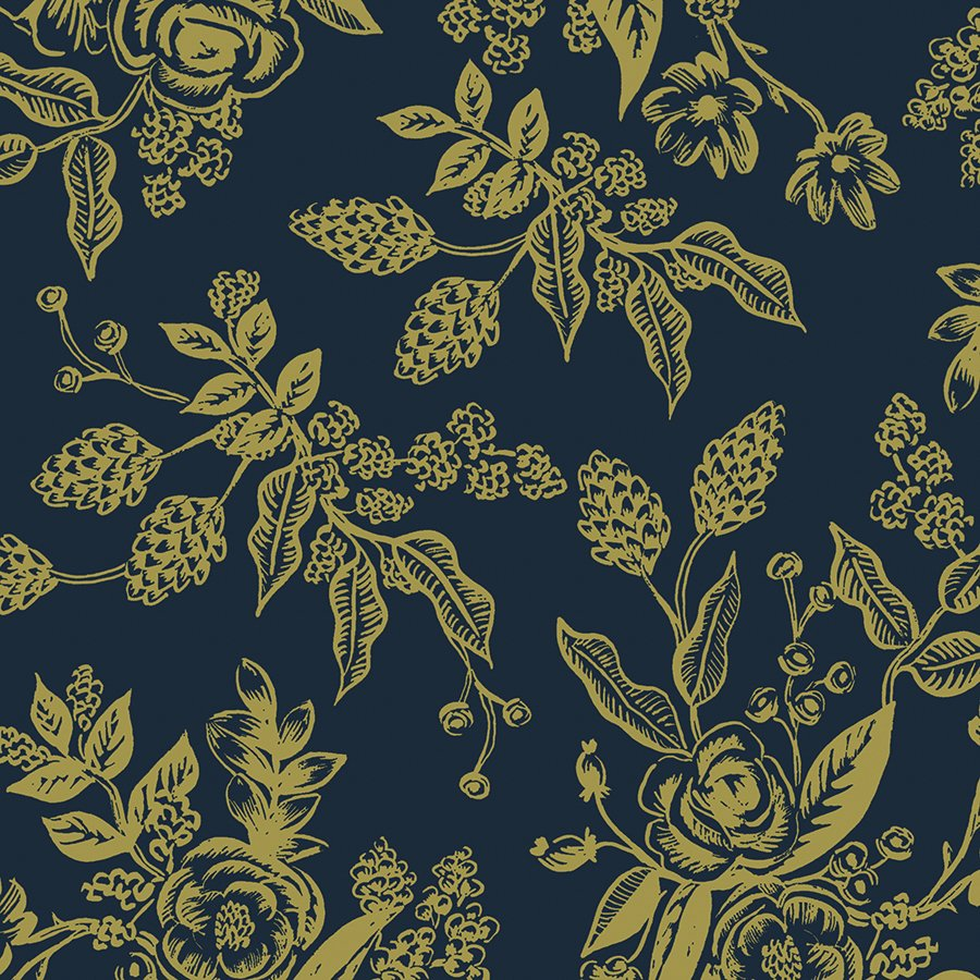 English Garden- Toile- Navy Metallic- Rifle Paper Co- Cotton + Steel