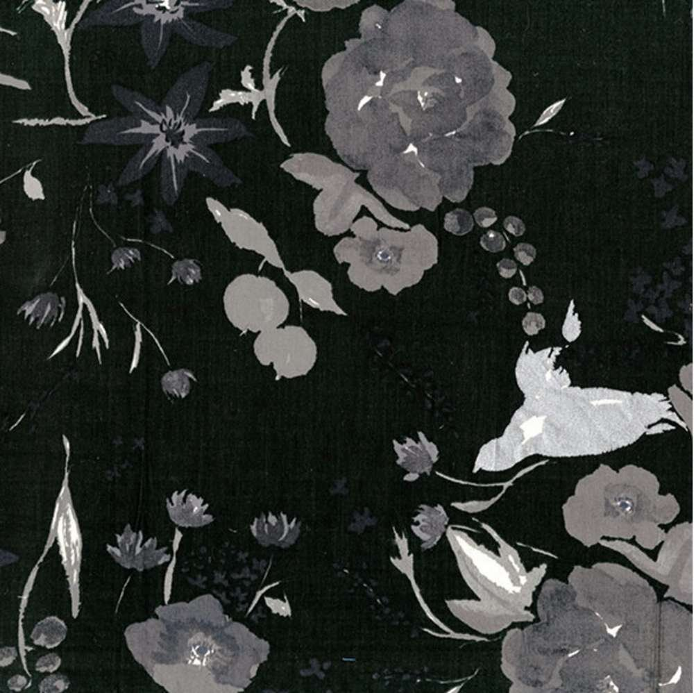Beau Yin Yang- Floral Bird- Black- Cotton Lawn- Nani Iro- Kokka