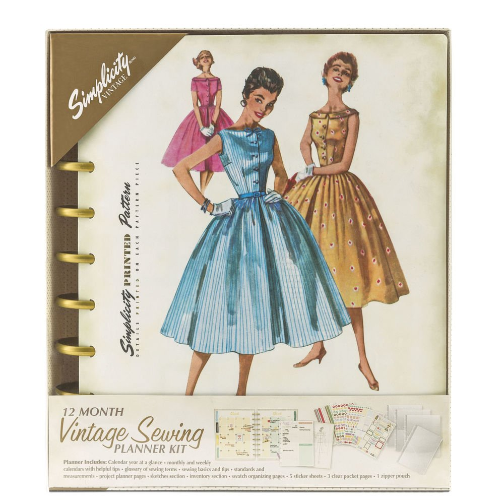 Simplicity 12-month Vintage Sewing  Planner Kit