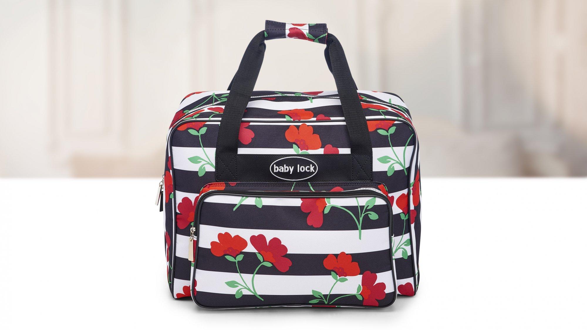 Floral Stripe Sewing Machine Tote BLALT2