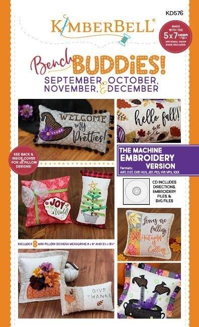 Bench Buddies Sept, Oct, Nov &  Dec Embroidery Version