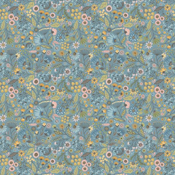 Meadow-Blue Poppie cotton