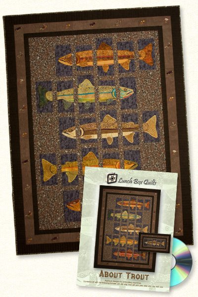 ABOUT TROUT QUILT PAT CD DWNLD LUNCH BOX EMBRODERY DESIGN
