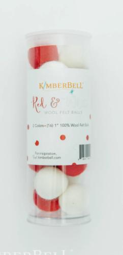 Wool Felt Balls (Red & White)