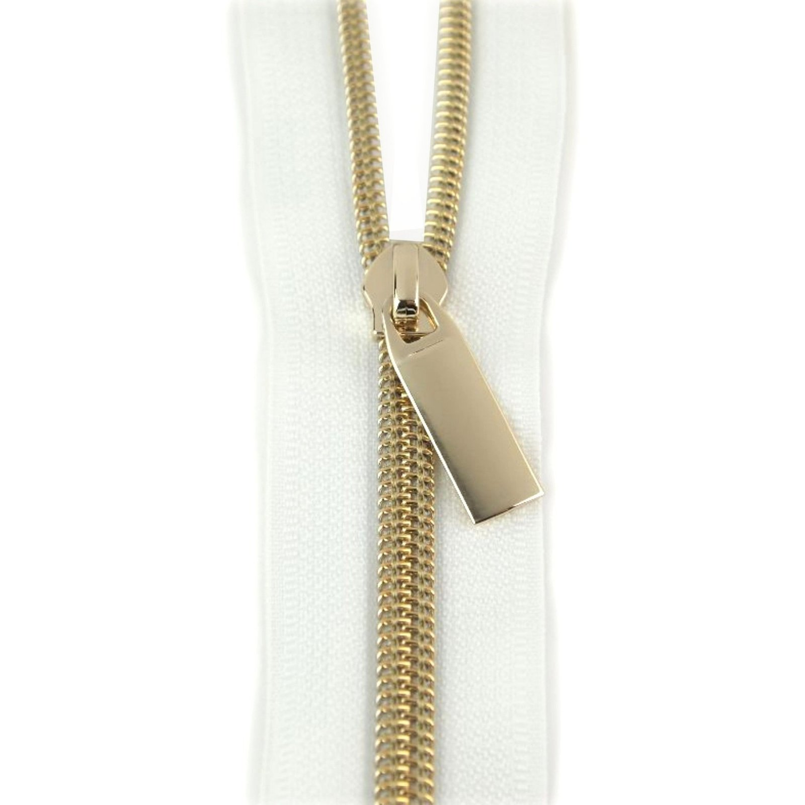 Zippers By The Yard White Tape Light Gold Teeth #5