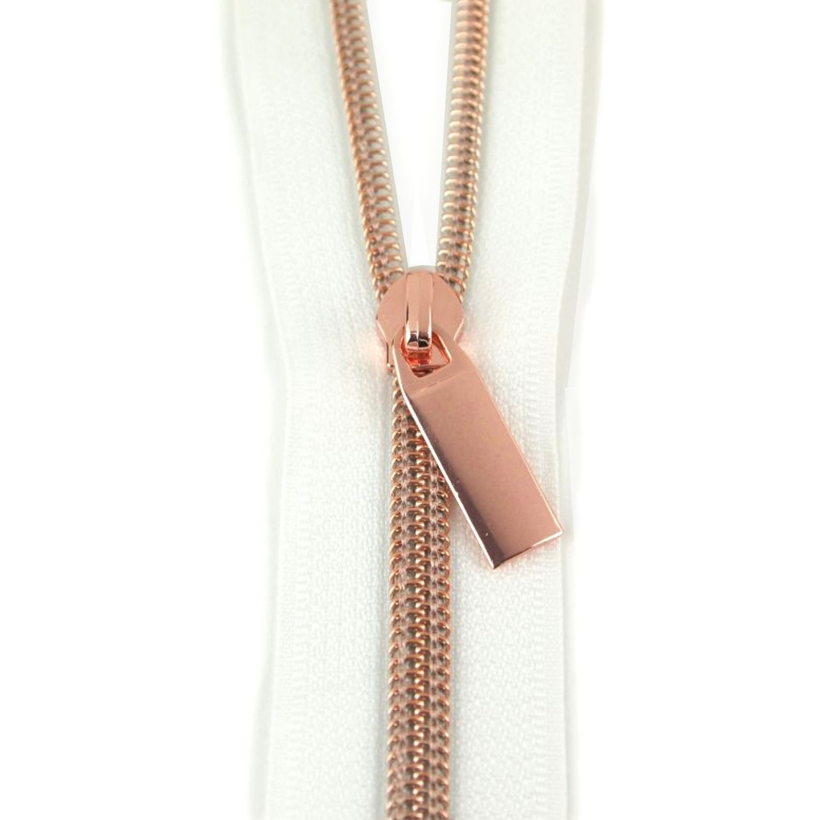 Zippers By The Yard White Tape Rose Gold Teeth #5