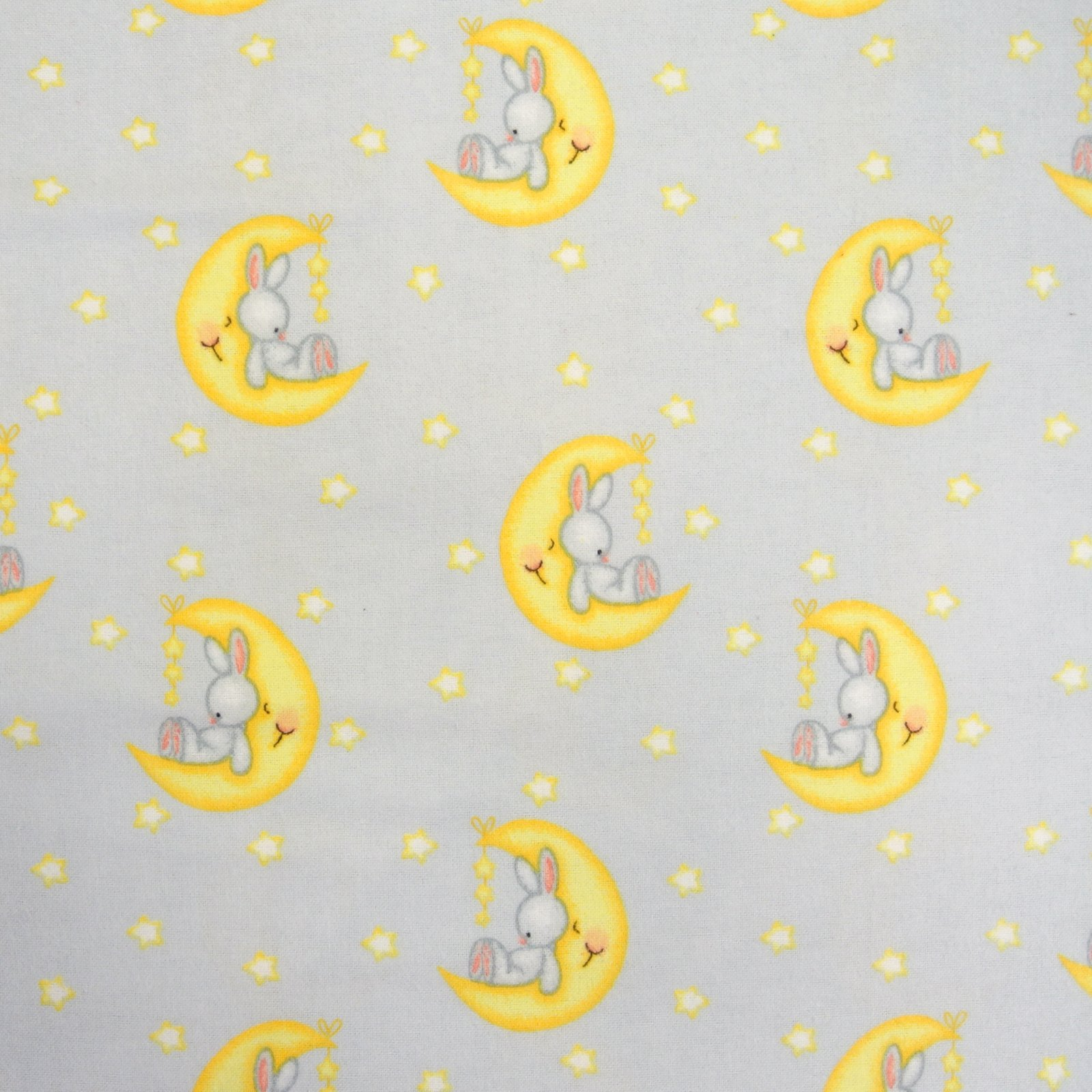 Lt Blue Bunny on the Moon Comfy Flannel