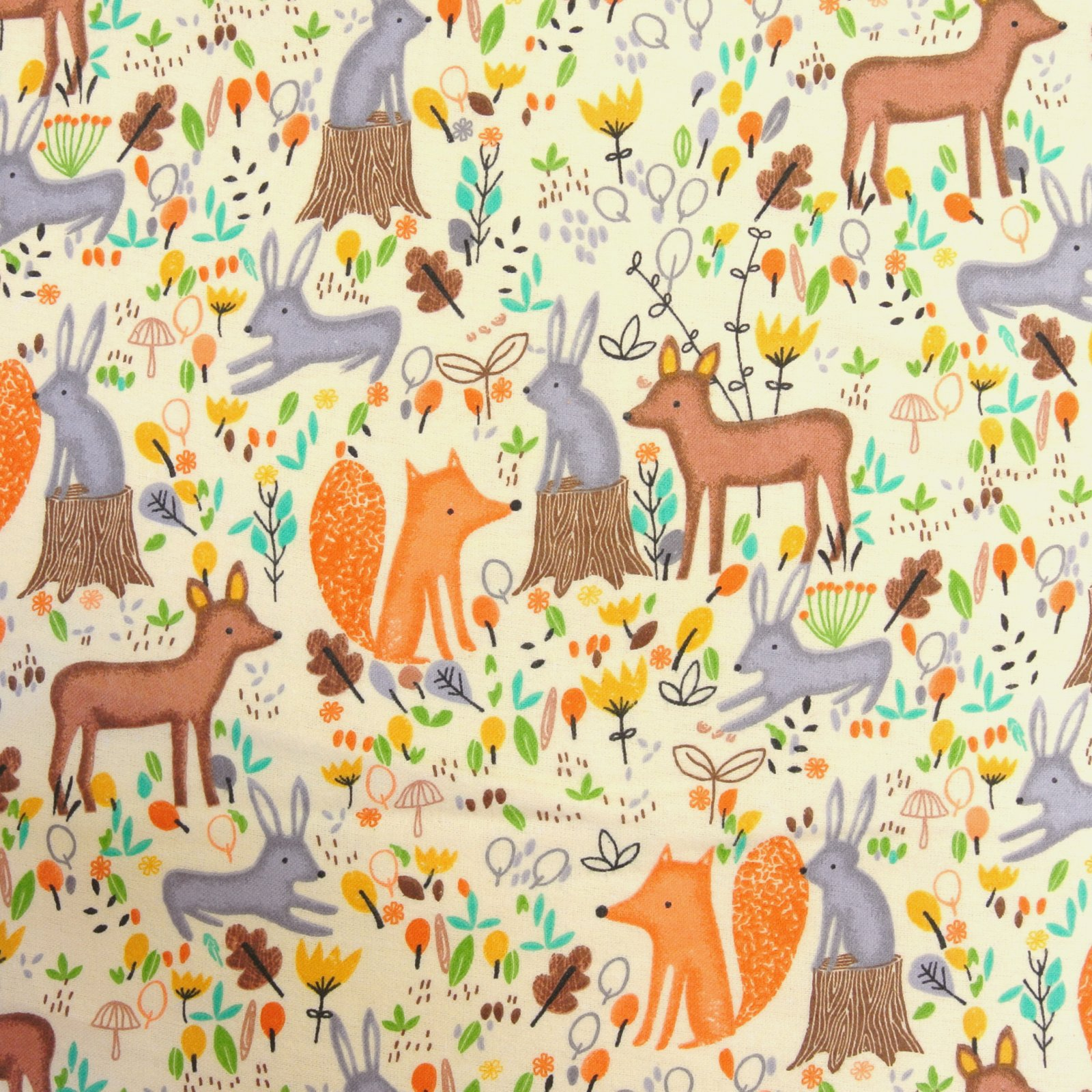 Multi Forest Animals Comfy Flannel