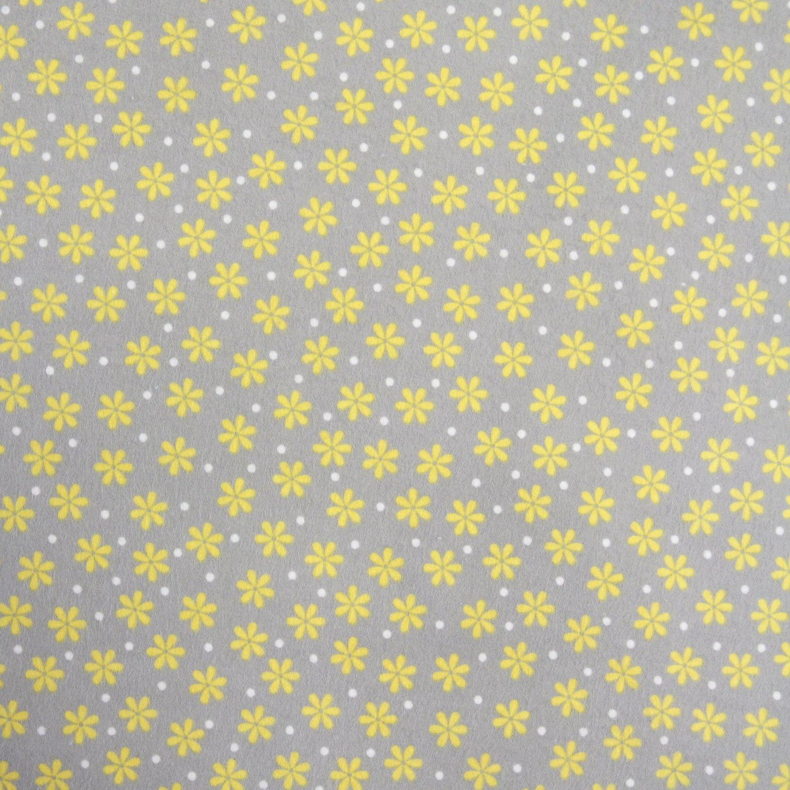 Cozy Cotton grey w yellow flowers