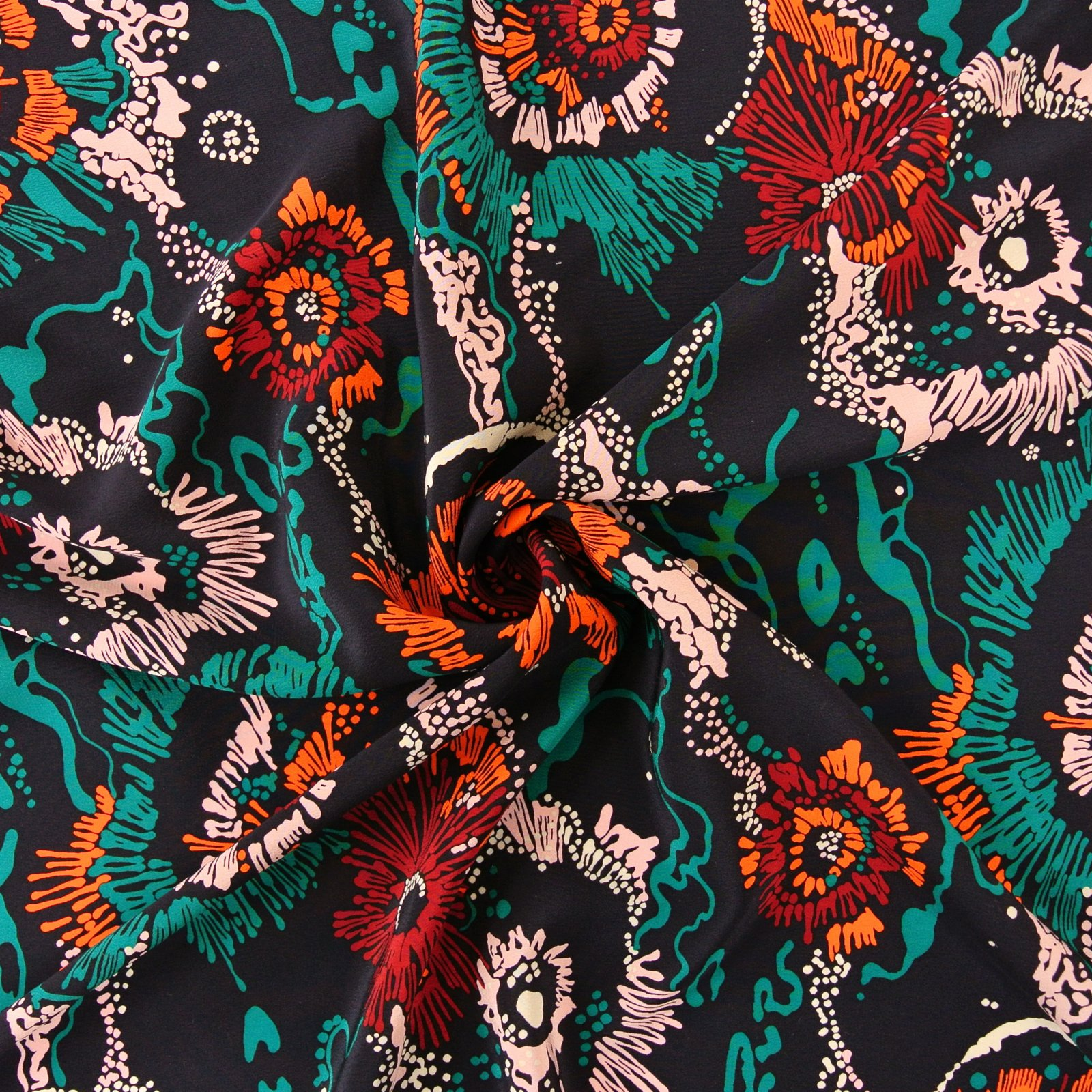 Floral Abstract Crepe de Chine navy