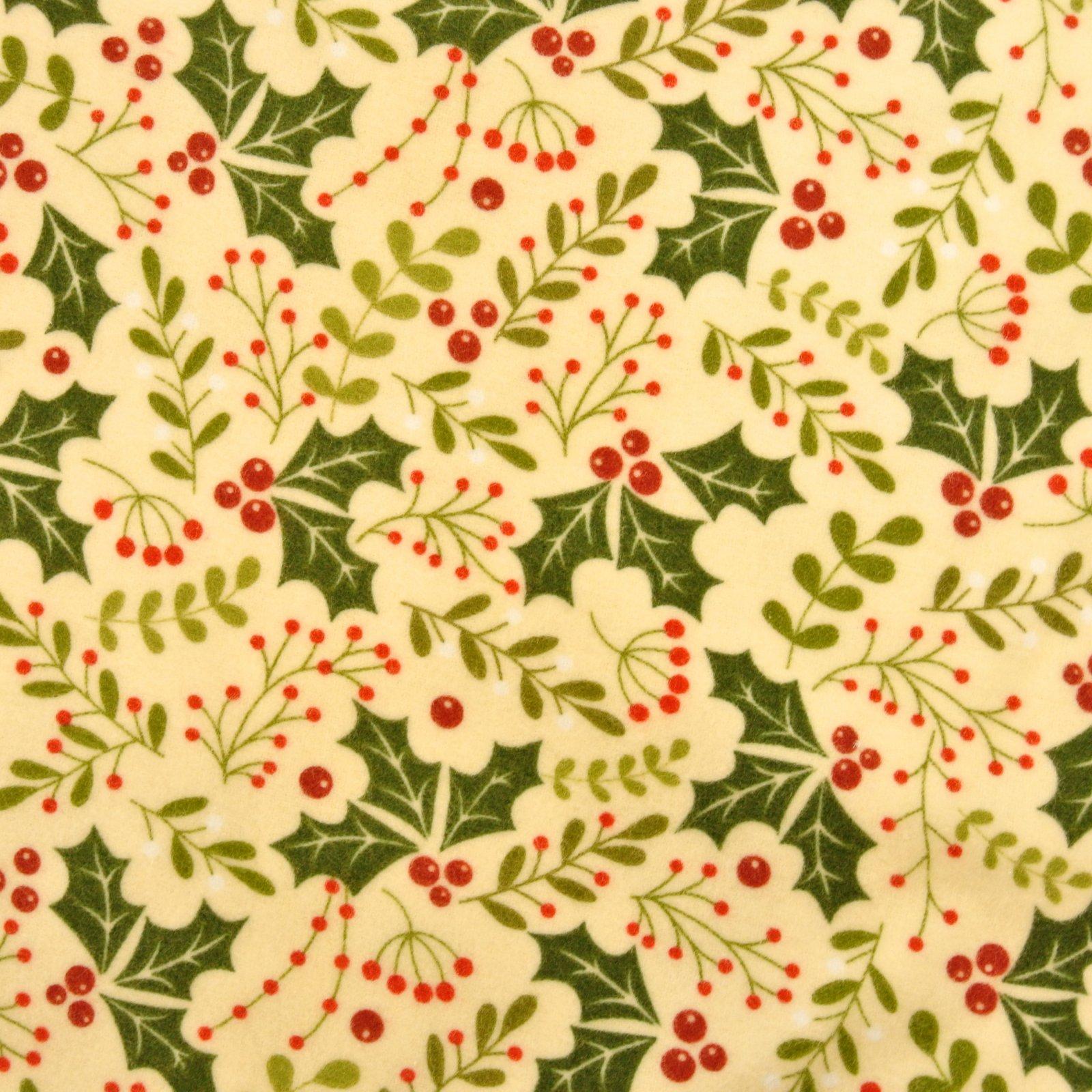 Holly Daze natural flannel