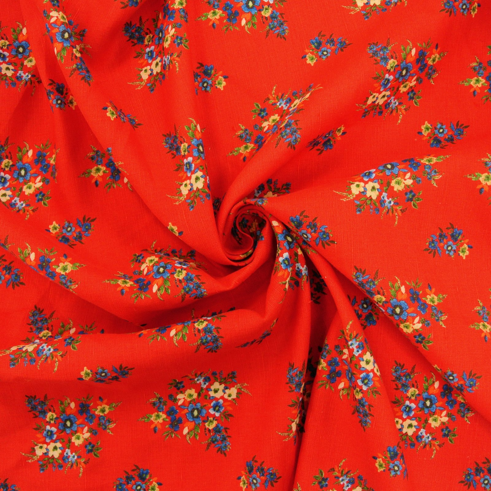 Linen Rayon Floral Twill red blue yellow