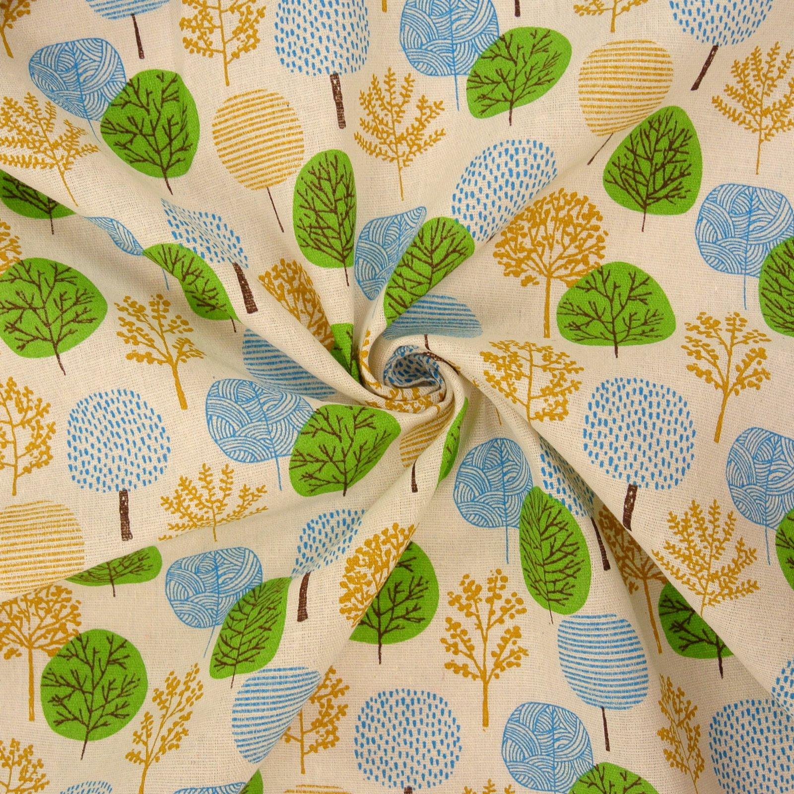 Linen Blend Trees blue green yellow