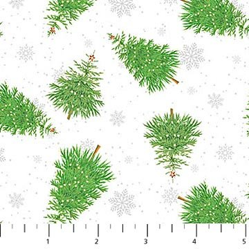 Double Decker Christmas - Tossed Trees on White - 22905 - 10