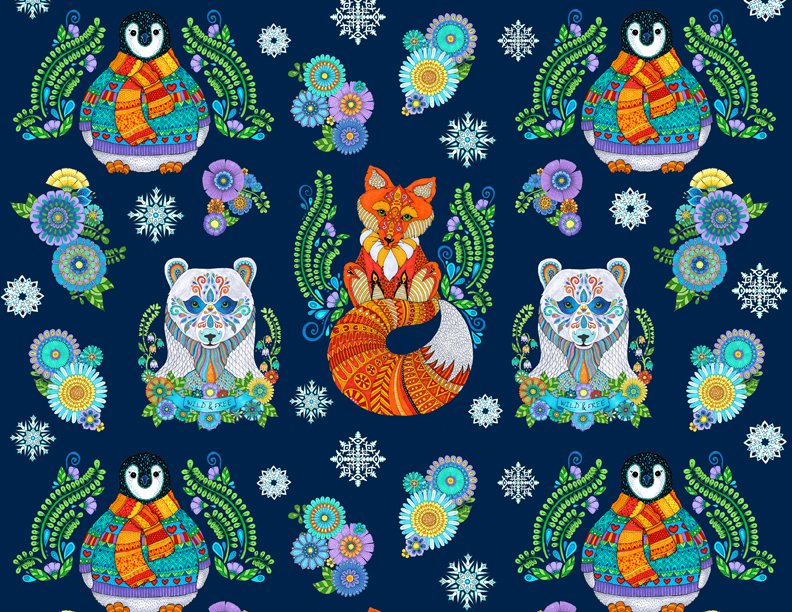 Arctic Wonderland by Hello Angel - Large Animals Navy