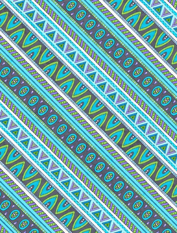 Arctic Wonderland by Hello Angel -  Diagonal Stripe Gray/Teal