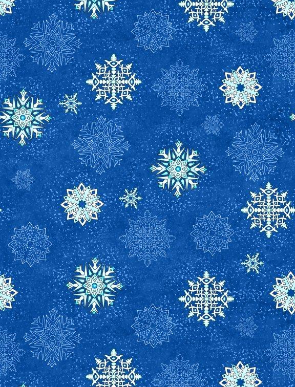 Arctic Wonderland by Hello Angel - Snowflake Toss Dk. Blue