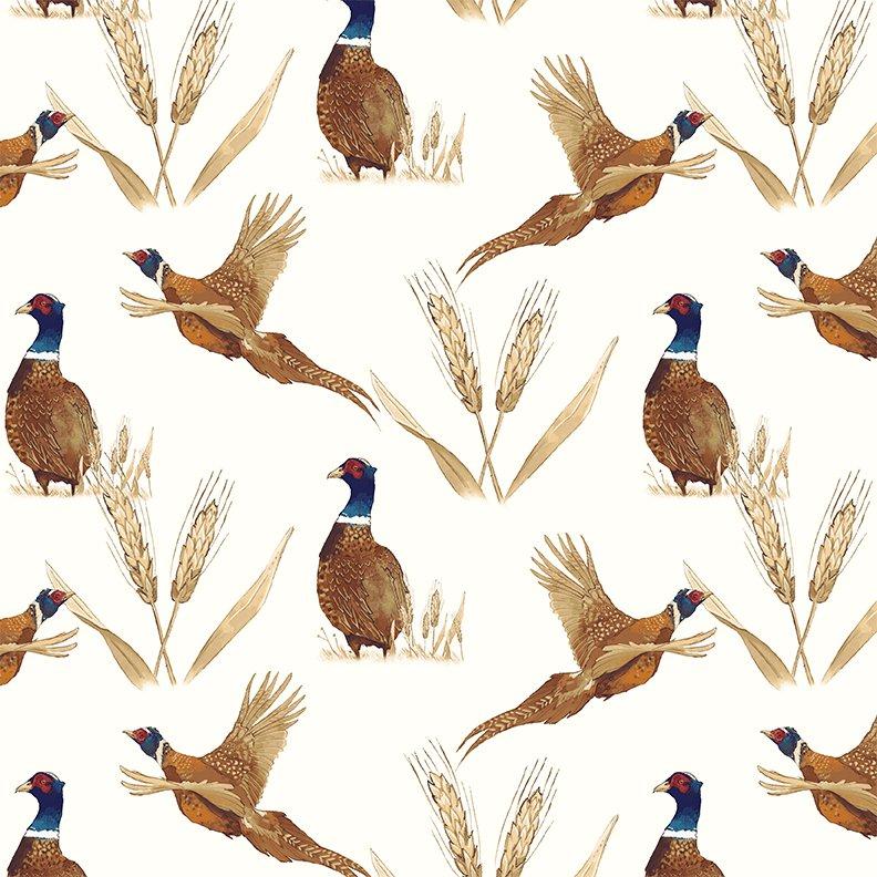 2017 Quilt MN - Y2195  Pheasant Toile Color 2 � Light Cream