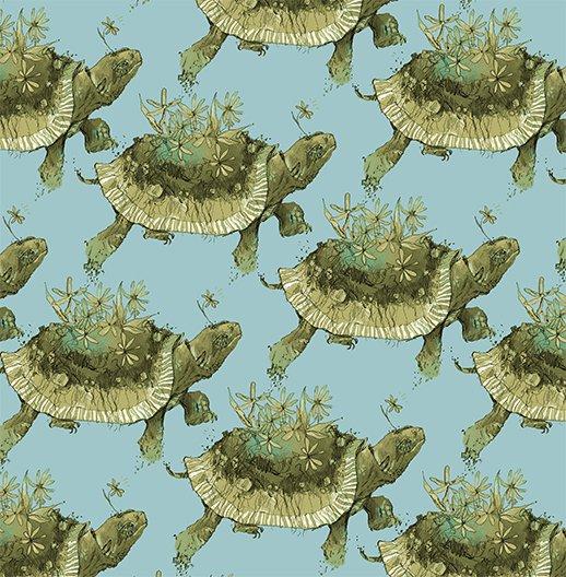 2017 Quilt MN - Y2198  Turtles Color 103 � Light Teal