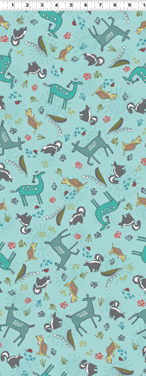 2018 Quilt MN - Y2449 FLANNEL FAUNA - 103 LIGHT TEAL