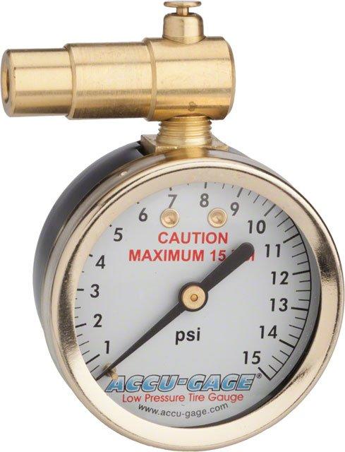 Meiser Presta-Valve Dial Gauge with Pressure Relief: 0-15psi