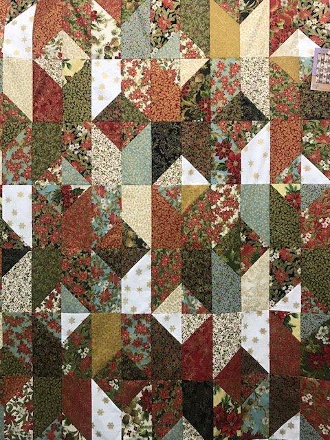 Poinsettias & Pine Take Out Quilt Kit