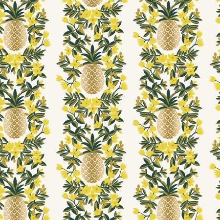 Rifle Paper Primavera Pineapple Stripe Cream Metallic