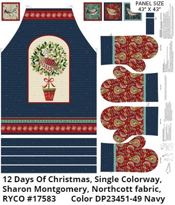12 Days Of Christmas Apron by Sharon Montgomery for Northcott Fabric
