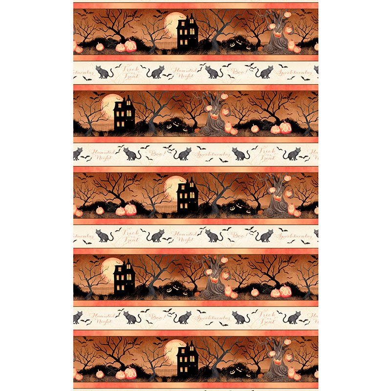 Haunted Night Border Print by Danielle Leone for Wilmington Prints